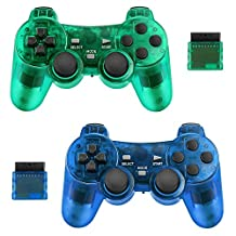 2-pack draadloze controller voor PS2 Playstation Achort 2.4G Gamepad Joystick Remote met Dual Shock Vibration Sensitive Control draadloze ontvangers Sony (ClearBlue en ClearGreen)