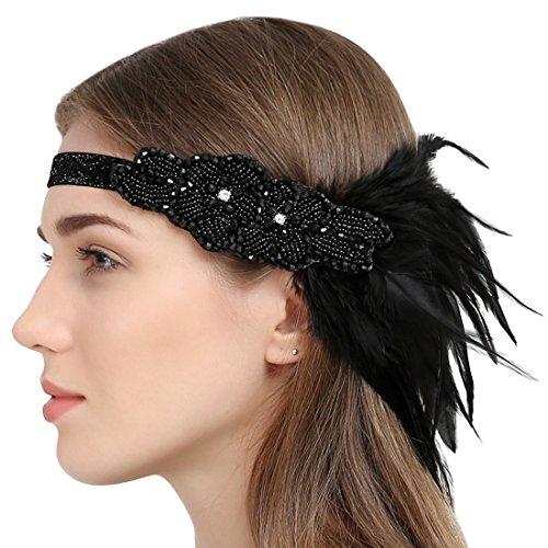 Vintage 1920 Jahre Flapper Stirnband Strass Perlen Kopfschmuck mit Schwarzer Feder