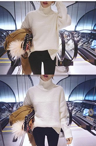 Smile YKK Pull-over Femme Sweat-shirt Coton Pull Manche Longue Col Montant Sweat Casual Mode Beige
