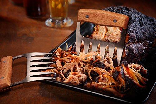 514UL3rqItL - Edelstahl Fleisch-Krallen [2 Stück] - Meat Claws für Pulled Pork | Bärenkrallen mit Holzgriff | BBQ Gabeln