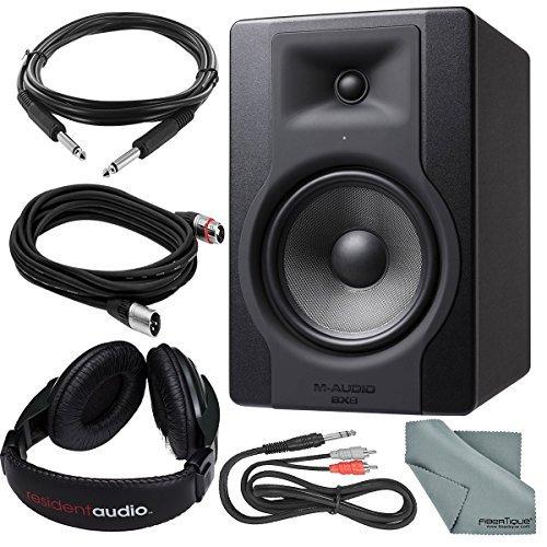 M-Audio BX8D320,3cm 150W Powered Studio Referenz Monitor und Basic Bundle W/geschlossene, Kopfhörer + Kabel + fibertique Powered Woofer