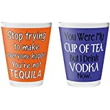 "Pics And You Quotes Themed 2635 Set Of 2 Shot Glass (Printed Glass, 2""x2.3"", Set Of 2 Pieces) - SGQT188-194"