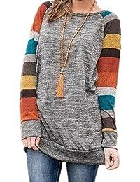 Minetom Cuello Redondo Verano Moda Camiseta Para Mujer Blusa Tops Sweater Material Cómodo Sentirse Bien Blouse Suéter Hombro Raya T Shirts