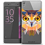 Caseink - Coque Housse Etui pour Sony Xperia XA [Crystal HD Polygon Series Animal - Rigide - Ultra Fin - Imprimé en France] - Hibou