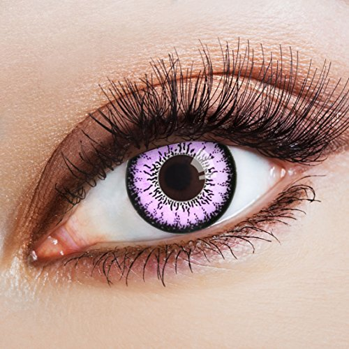 aricona Farblinsen farbige Kontaktlinsen mit Stärke pinke 12 Monatslinsen | natürliche Jahreslinsen für Big Eyes | bunte Contact Lenses für dein Cosplay Kostüm | - 4,5 (Cowgirl Halloween Make Up)