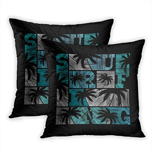 Nekkzi Cushion Covers Set of Two Print Surf Surfing in Vintage Style Production Design for Tee Wear Stamp Graphic Summer Sofa Home Decorative Throw Pillow Cover 16x16 Inch Pillowcase Hidden Zipper Doe Tee