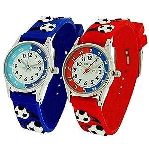 2 X Reflex Jungen 3D Fußball Zeitlernuhr blau & rotes Armband + Uhr Lesen Urkunde