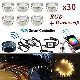 Lampe au Sol Spot Encastrable+Wifi contrôleur-Lumière RGBW (RGB+Blanc Chaud)...