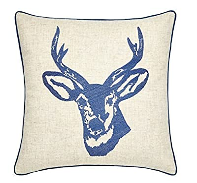Catherine Lansfield Home Stags Head Embroidered Cushion Cover, Blue, 43 x 43 Cm - inexpensive UK light store.