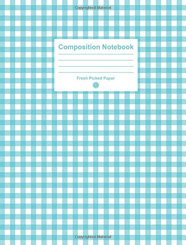 Composition Notebook: 100 Page Standard Size College Ruled Notebook, Lined Journal for School, Aqua Gingham Cover -