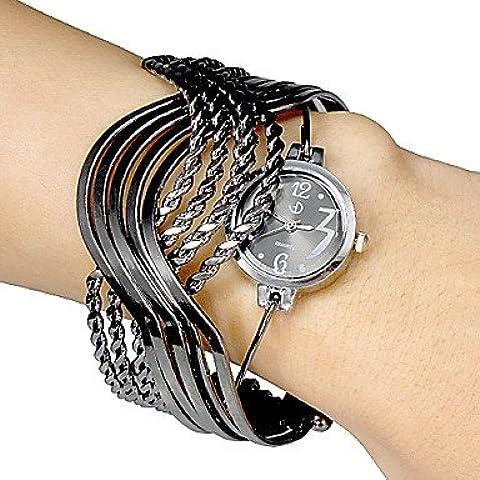 Fenkoo Multi-Strand anelli braccialetto design quadrante nero del braccialetto del quarzo analogico delle donne