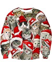 Goodstoworld Weihnachtspullover 3D Unisex Druck Pullover Weihnachten Pullover Ugly Christmas Sweater