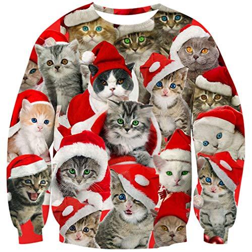 Goodstoworld Fun Christmas Pullover Jugendliche Mädchen Männer Katze 3D Druck Weihnachten Sweater Cat Weihnachtspullover XL
