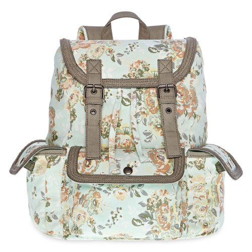 Olsenboye Mint Green Floral Fashion Backpack Designed by Mary-Kate and Ashley Olsen