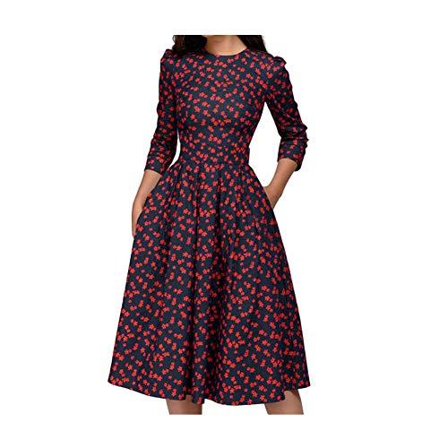 iHENGH Damen Frühling Sommer Rock Bequem Lässig Mode Kleider Frauen Röckemode ärmellose Spitze Chiffon Rundhals langes Partykleid(Marine, XL) (Kostüm Girl Red Flapper)