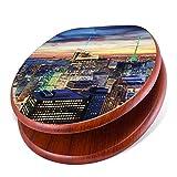 banjado Design Toilettensitz mit Absenkautomatik, WC-Sitz Holz, Klodeckel mit Metall Scharnieren, Toilettendeckel mit Motiv New York Sunset