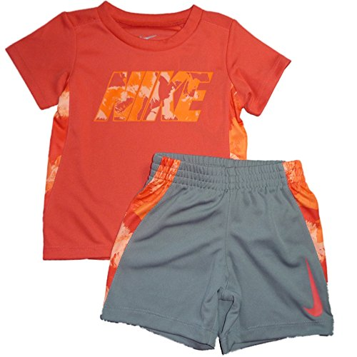 Nike Baby Jungen Sport Outfit T-Shirt + Shorts Hose Dri Fit Coral Rot Grau (80) -