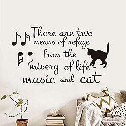Czxmp Es Gibt Zwei Zufluchtsorte Aus Dem Leben Vinyl Wandaufkleber Musik Und Katze Hinweis Abnehmbare Tapete Pet Shop Decals Home Decor34 * 59Cm