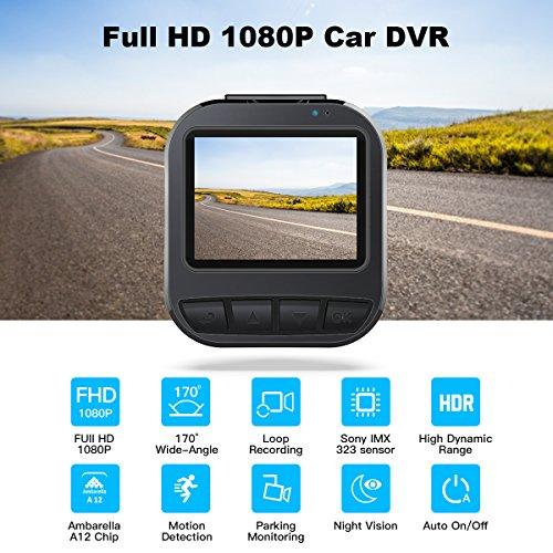"514UR%2BixFvL - CACAGOO Dashcam Cámara de Coche 2.7""TFT LCD HD Car DVR 1080p H.264 Gran Angular 150° Sony IMX 323 Sensor detección de Movimiento Loop Recording visión Nocturna G-Sensor (170°)"