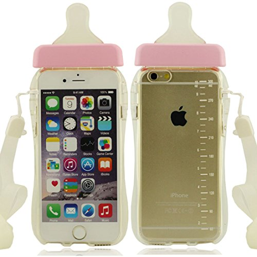 Apple iPhone 7 4.7 inch Coque Housse de protection Case, Mignon Biberon Forme Serie Très Mince Poids Léger Transparent Clair Doux Silicone Plastique rose