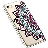 Uposao Kompatibel mit iPhone 6S 4.7 Silikon Handyhülle Durchsichtig TPU Schutzhülle Transparent Blumen Muster Etui Ultra Dünn Weiche Crystal Clear Tasche Case,Henna Blumen Rot