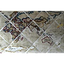 Tamaño Extra grande 90x 60cm prestigioso piedra mapa del mundo/Atlas hecha a mano tela aviso/Pin/Pizarra