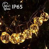 Quntis 11,7M IP65 LED Lichterkette Außen, 30er G40 Glühbirnen E12 Warmweiß+1 Ersatzglühlampe, 155 LEDs, Wasserdicht Outdoor/Indoor Deko Licht...