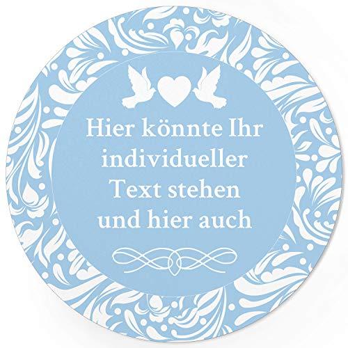 24 PERSONALISIERTE runde Etiketten zur Hochzeit mit Motiv: Hell Blau - Ihre Aufkleber online selbst gestaltet, ganz individuell