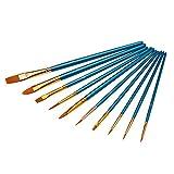 Vococal - 10 PZ Kit Spazzola di Capelli di Nylon per Pittura del Corpo Viso/Artista dell'Acquerello Pittura a Olio Forniture per Make Up Trucco Cosmetici,Blu