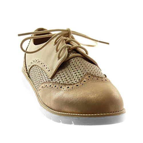 Angkorly Chaussure Mode Derbies Semelle Basket Femme Perforée Brillant Tréssé Talon Plat 2.5 cm Champagne