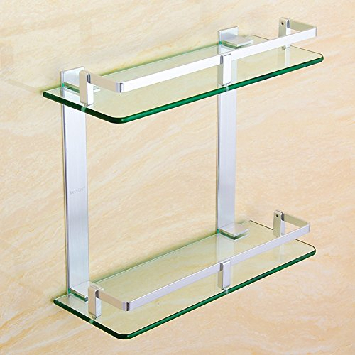 Badregal Mode Badezimmerablagen Raum Aluminiummaterial-anodische Oxidation 2 Schicht 7mm ausgeglichenes Glas mit Leitschiene 7 Größe optional - Nun Belastbarkeit (größe : 26.5*50cm)