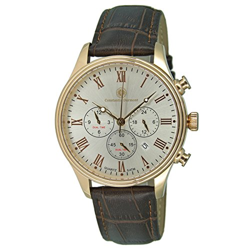 Constantin Durmont Ashford - Reloj de pulsera de piel para hombre, analógico de cuarzo
