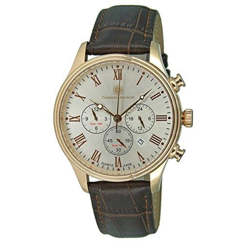 Constantin Durmont Herren Analog Quarz Uhr mit Leder Armband CD-ASHF-QZ-LT-RGRG-WH