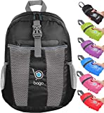 Bago Lightweight Backpack. Water Resistant Collapsible Rucksack for Travel and Sports. Foldable