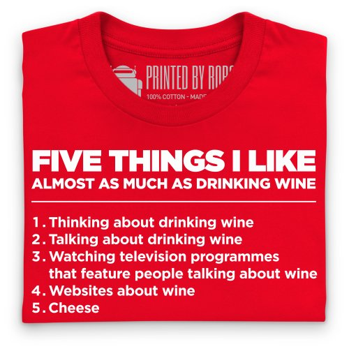 Five Things I Like - Wine T-shirt, Uomo Rosso