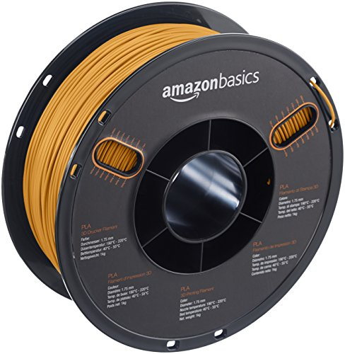 AmazonBasics - PLA 3D-Drucker Filament, 1,75 mm, Gold, 1 kg Spule