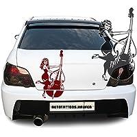 Adesivo per auto adesivo auto contrabbasso Cello signora girl woman, Vinile, Rosa chiaro, 36,00 cm x 60,00 cm (KLEIN)