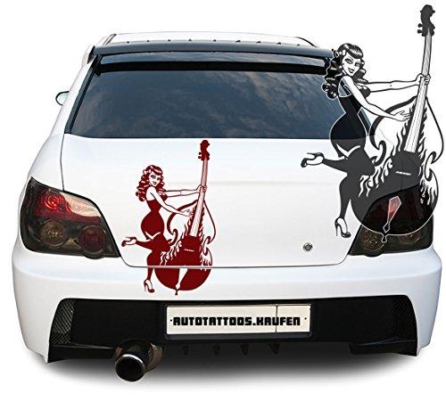 Autoaufkleber Autotattoo Kontrabass Cello Frau girl woman Kupfer MITTEL