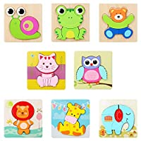JSF-Wooden Puzzle Chunky Set, 4-6 Pieces, 8 pack (Animal)