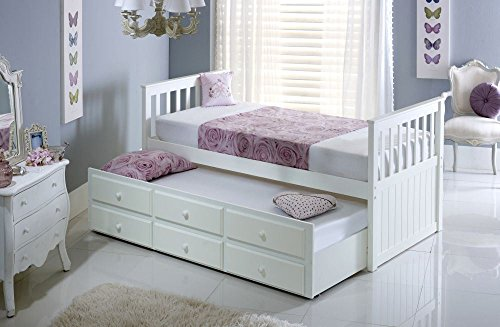 Happy Beds Maple Guest Bed and Trundle Soft White Wooden Frame Only 3' Single 90 x 190 cm
