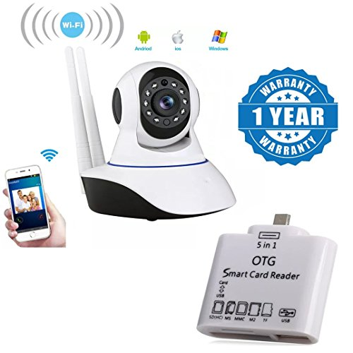 Captcha Wireless Full Hd 1080P Ip Wifi Cctv Indoor Security Camera with 5 in 1 Micro USB OTG Smart Card Reader SD(HC) M2 MMC MS TF Connection Kit Compatible with Xiaomi, Lenovo, Apple, Samsung, Sony, Oppo, Gionee, Vivo Smartphones (One Year Warranty)  available at amazon for Rs.2099