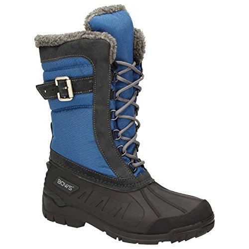 BOWS® -SUSI- Winterstiefel Damen Schnee Stiefel Snow Schuhe Winterboots warm gefüttert wasserdicht wasserabweisend, Schuhgröße:42, Farbe:blau