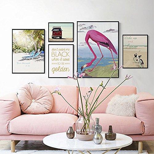 Galerie Portfolio (Ccsyso Dekorative gemalte Sofa-Hintergrund-Wand-Minimalistische hängende Malereien dreifacher Wand-Wandgemälde-Portfolio-Foto-Wand-Flamingo-Wohnzimmer (Pattern : A, Size : L))