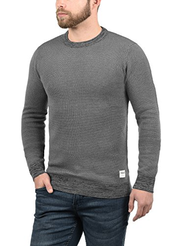 SOLID Raekwans Herren Strickpullover Feinstrick Pulli mit Rundhals-Ausschnitt aus hochwertigem Baumwollmaterial Grey Melange (8236)