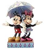 Enesco 4054280 Objet de Décoration - Mickey Minnie sous Un Parapluie, résine, Multicolore, 17 x 9 x 20 cm