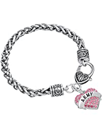Lemegeton Antique Silver Heart Shape Army Pendant Wheat Chain Bracelet for Women Girls Gift Jewelry