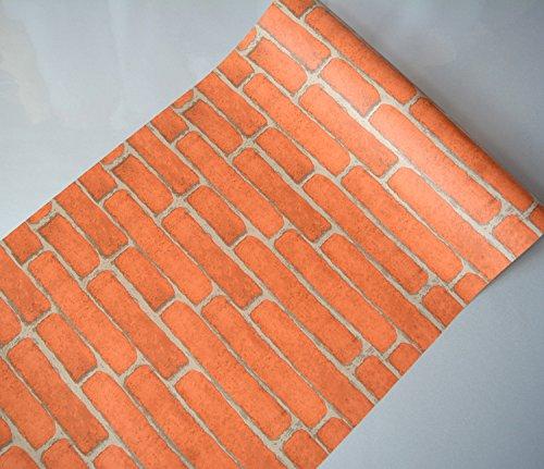 ALLDOLWEGE Kreative Schlafzimmer Schlafzimmer Wandaufkleber College-Schlafsaal Wand Dekoration Poster Wand Papier selbstklebende Malerei, orange Ziegel (Malerei Ziegel)