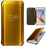 Xtra-Funky Serie Samsung Galaxy S6 Edge inteligente Fecha / Hora Ver Espejo Brillante tirón del caso duro Con del sueño / Despierte Función - Oro