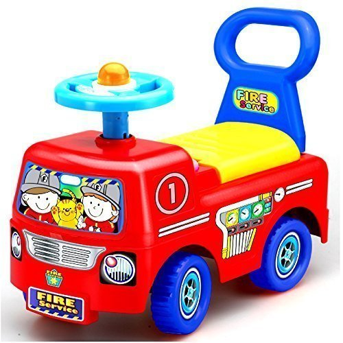 Image of TODDLER INFANT RIDE ON CAR VEHICLE FIRE TRUCK CHILDRENS KIDS PUSH ALONG BOYS GIRLS TOY XMAS GIFT
