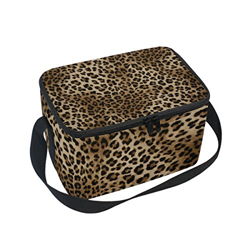 DOSHINE Animal Tiger Leopard Print Isolierte Lunch Box Tasche, Kühler Ice Lunch Tasche Wiederverwendbar für Männer Frauen Erwachsene Kinder Jungen Mädchen (Tiger-große Taschen Tote)